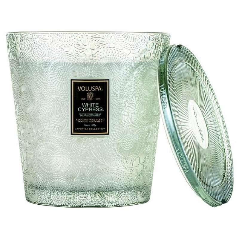 3 Wick Hearth Glass - White Cypress